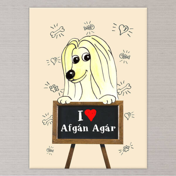 Afgán Agár Kutya Vászonkép - 50x40 cm